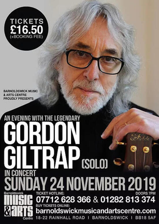 Gordon Giltrap in concert RESCHEDULED to 24th Jan 2020