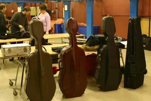 Instrument cases backstage