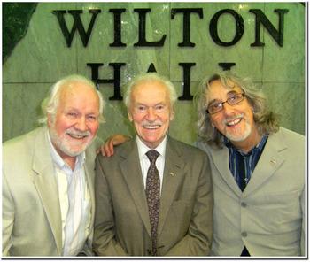 Chas McDevitt Bert Weedon and Gordon Giltrap at Jim Marshall039s 87th birthday party 30th June 2010