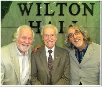 Chas McDevitt Bert Weedon and Gordon Giltrap at Jim Marshall039s 87th birthday party 30th June 2010