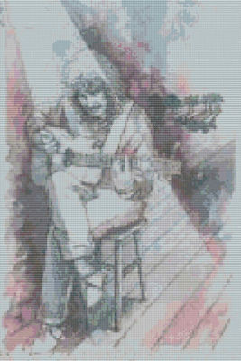Guitarist in the Spotlight Cross Stitch